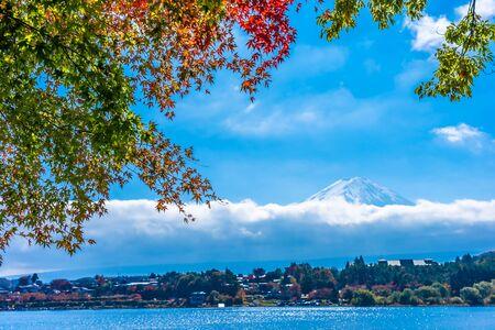 Hermoso paisaje de la montaña fuji con árbol de hoja de arce alrededor del lago en la temporada de otoño Foto de archivo