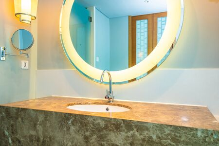 Beautiful luxury water faucet and sink decoration in bathroom interior