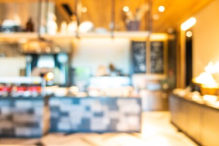Abstract blur and defocused coffee shop cafe and buffet restaurant interior for background
