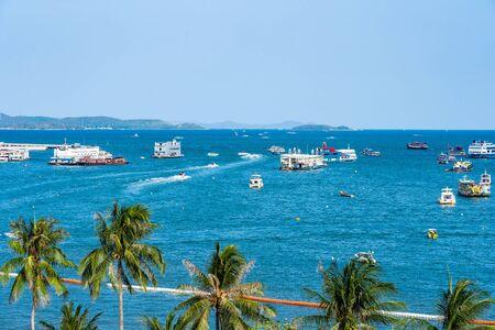Beautiful Sea ocean bay landscape of Pattaya city in on blue sky in Thailand Фото со стока