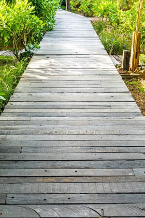 Beautiful wooden path walk in the garden for walking or running way