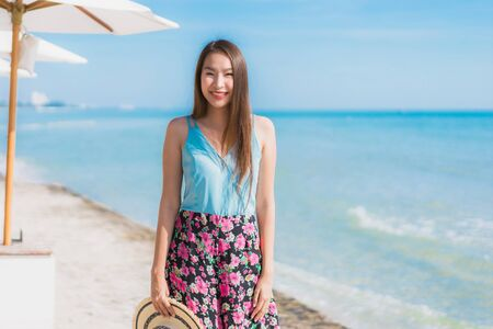 Portrait beautiful young asian woman happy smile relax around beach ocean and sea for leisure travel and vacation Stock fotó