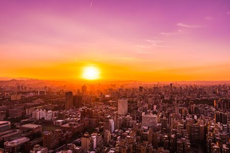 Beautiful architecture building taipei city skyline at sunset in Taiwan Stock Photo