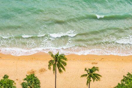 Beautiful Aerial view of tropical beach sea ocean