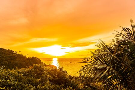 Beautiful outdoor tropical beach sea around samui island with coconut palm tree and other at sunset or sunrise time for holiday vacation travel