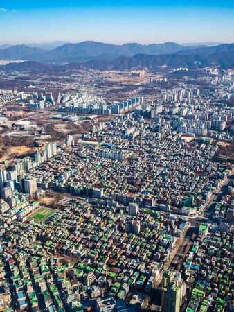 Beautiful aerial view of architecture building in Seoul City