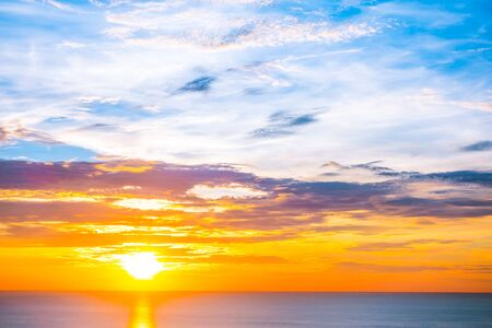 Beautiful outdoor tropical nature landscape of sea ocean at sunrise or sunset with sky and cloud background Stok Fotoğraf