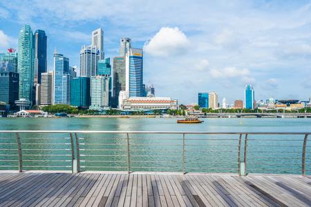Singapore, 21 Jan 2019 : Beautiful architecture building skyscraper around marina bay in singapore city Stock Photo - 129832151