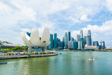 Singapore, 21 Jan 2019 : Beautiful architecture building skyscraper around marina bay in singapore city Stock Photo - 129832153