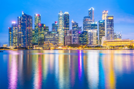 Singapore - 18 Jan 2019 : Beautiful architecture building landmark exterior in the city skyline at twilight and night time