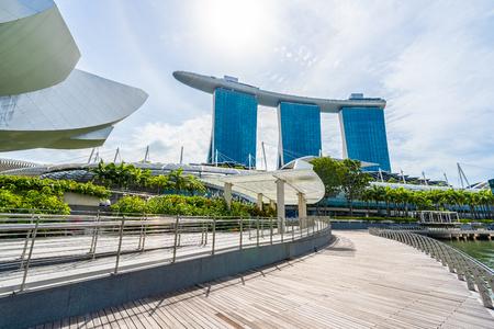 Singapore, 21 Jan 2019 : Beautiful architecture building skyscraper around marina bay in singapore city Stock Photo - 129832185