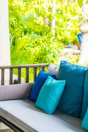 Comfortable pillow on sofa decoration outdoor patio for take a seat and relax