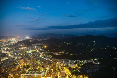 Beautiful architecture building taipei city skyline at night in Taiwan