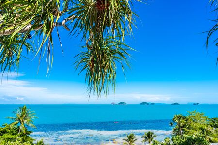 Beautiful tropical sea ocean with coconut palm tree on blue sky white cloud for holiday vacation travel background
