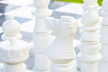 Black and white chess around outdoor ready for play