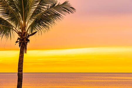 Belle mer océan plage avec palmier au lever du soleil pour les vacances de vacances Banque d'images
