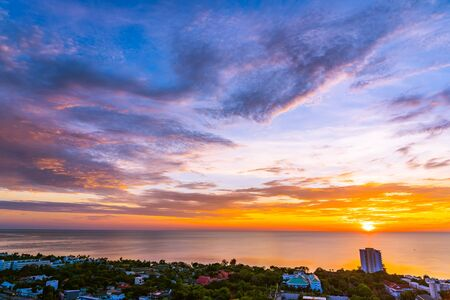 Beautiful outdoor landscape and cityscape of hua hin in Thailand at sunrise time