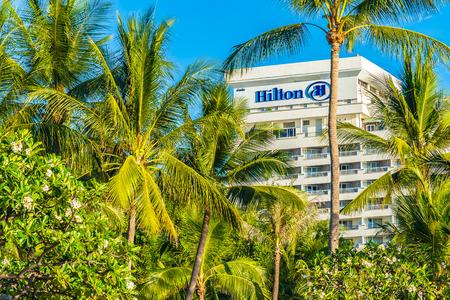 Hua hin , Thailand 2 May 2019 - Hilton hotel sign at hua hin with coconut palm tree in Thailand