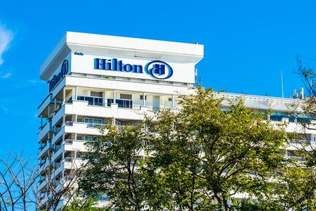 Hua hin , Thailand - 2 May 2019 : Hilton hotel and resort sign in hua hin province Thailand Editorial