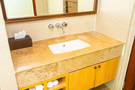 Beautiful elegance water faucet and sink decoration in bathroom toilet interior Reklamní fotografie
