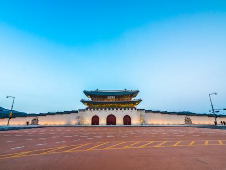 Piękna architektura budynku gyeongbokgung pałac gród miasta Seul w Korei Południowej