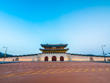Schönes Architekturgebäude des Gyeongbokgung Palastmarksteins der Stadt Seoul in Südkorea
