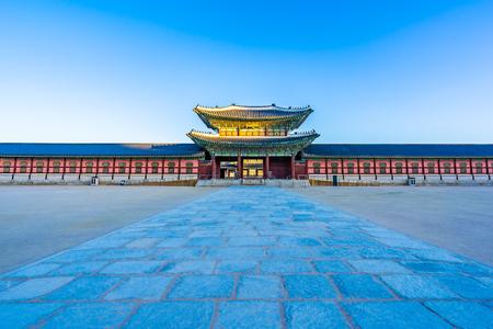 Beautiful architecture building Gyeongbokgung palace in Seoul South Korea Editöryel