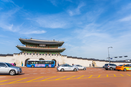 Seoul, South Korea 6 December 2018 : Beautiful architecture Gyeongbokgung palace is the popular place for travel and sightseeing in Seoul Korea Stok Fotoğraf - 130377682