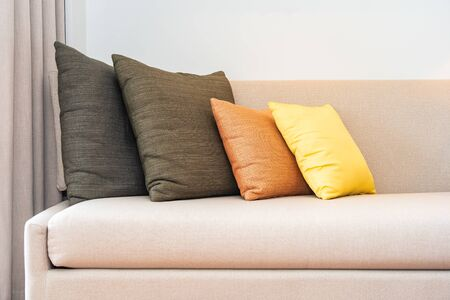 Comfortable pillow on sofa decoration interior of living room area