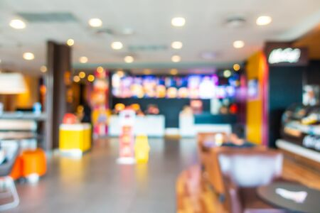 Abstract blur and defocus fast food restaurant and coffee shop cafe interior for background Фото со стока - 131349646