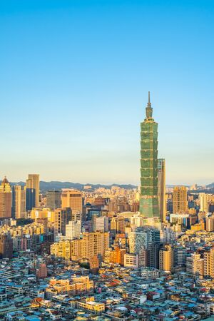 Beautiful architecture building taipei city skyline in Taiwan Фото со стока - 131349581