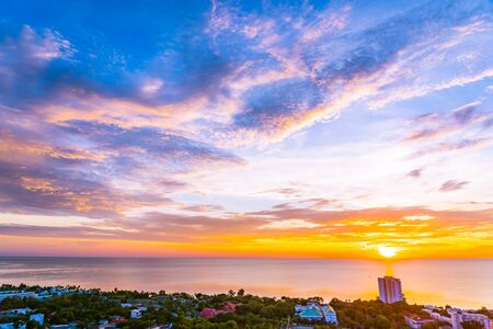 Beautiful outdoor landscape and cityscape of hua hin in Thailand at sunrise time Stockfoto