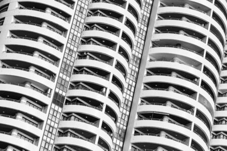 Building exterior with window balcony pattern textures and surface in black white color Фото со стока - 131349851