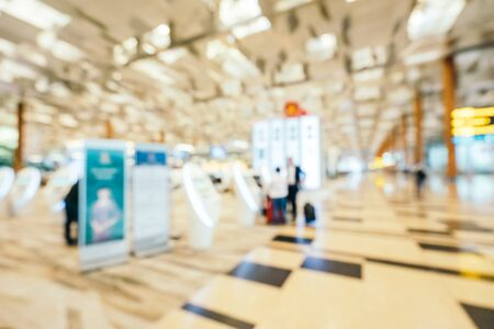 Abstract blur and defocused changi aiport terminal interior for background