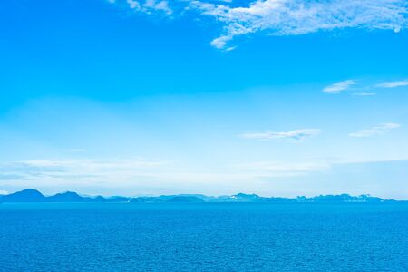 Beautiful outdoor sea ocean with white cloud blue sky around with small island around Samui island in Thailand