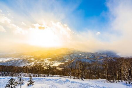 Beautiful landscape with mountain around tree in snow winter season at sunset time in Sapporo Hokkaido Japan Фото со стока