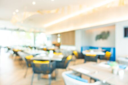 Abstract blur and defocused buffet restaurant and coffee shop cafe interior for background