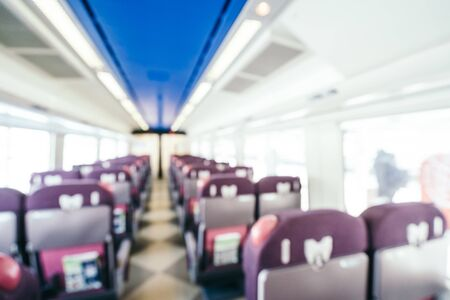 Abstract blur and defocused inside train passenger interior for background