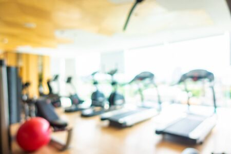 Abstract blur and defocus fitness equipment in gym room interior Stok Fotoğraf