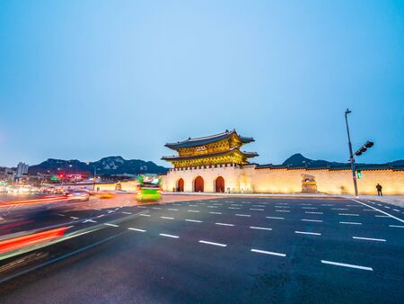 Beautiful architecture building of gyeongbokgung palace landmark of Seoul city in South Korea 写真素材