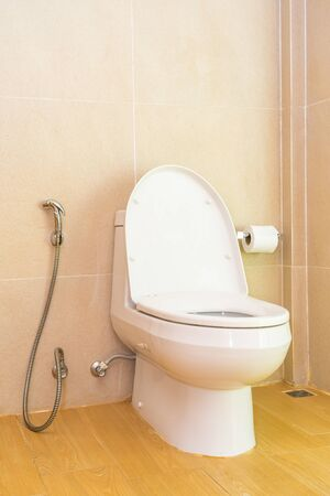 White toilet bowl and seat decoration in bathroom interior