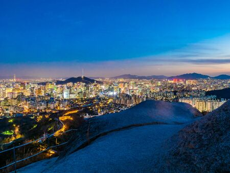 Beautiful Architecture building cityscape with tower in Seoul city South Korea 写真素材