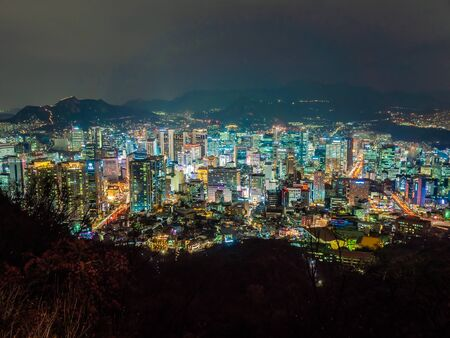 Beautiful architecture building around Seoul city at night in South Korea
