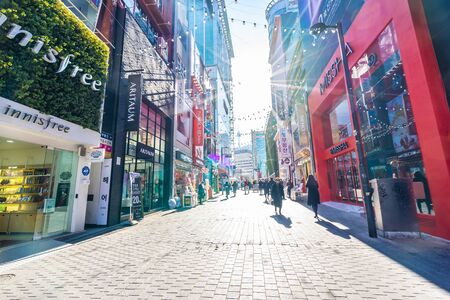 Seoul, South Korea 10 December 2018 : Myeong dong market is the popular place and district for shopping find something eat and sightseeing 写真素材