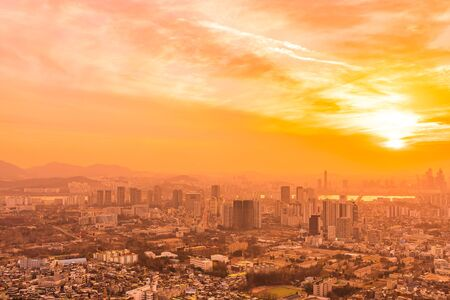 Beautiful landscape and cityscape with architecture and building at sunset time in Seoul city South Korea