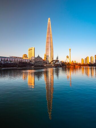 Seoul, South Korea : 8 December 2018 Beautiful architecture building Lotte tower is the one of landmark in Seoul City Stock fotó