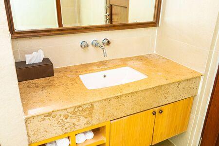 Beautiful elegance water faucet and sink decoration in bathroom toilet interior 写真素材