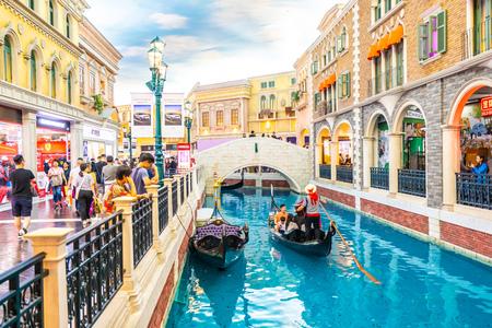 China, Macau - September 8 2018 - Beautiful luxury venetian hotel resort and casio with shopping mall in macau city Redactioneel