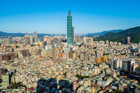 Beautiful architecture building taipei city skyline in Taiwan