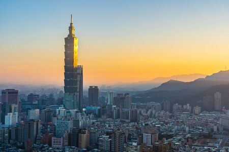 Beautiful architecture building taipei city skyline at sunset in Taiwan Stock Photo